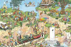 Home of high-quality Jigsaw Puzzles. Wide selection of puzzles made in the USA by top artists including Thomas Kinkade, Jane Wooster Scott & Jan Van Haasteren. Cartoon Puzzle, Mood Lifters, Picture Writing Prompts, Cartoon Art Styles, Puzzle Art, Detail Art, Illustrations And Posters, Funny Art, Jigsaw Puzzles