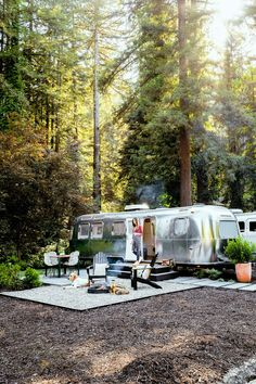 "AutoCamp - Just 90 minutes north of San Francisco in the heart of Sonoma's Wine Country.  The stylish second outpost of AutoCamp hotel just rolled into town, and, man, it's good. Like the Santa Barbara original, ""rooms"" are actually shiny new Airstream trailers outfitted with chic seating areas, tranquil bedrooms, and cool, compact kitchens, with toasty firepits out front."