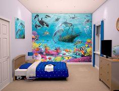 Fotobehang Posterbehang kinderkamer behang vissen dolfijn haai Diep in de zee onderwater fotobehang, posterbehang van Walltastic.