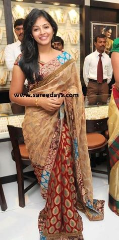 Tamil actress anjali in designer banarasi saree at malabar gold showroom launch