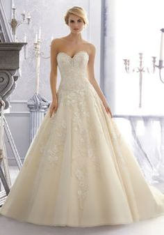 2671 Mori Lee Bridal Crystal Beaded Embroidery Combined with Venice Lace Appliques on a Tulle Wedding Dress   Morilee