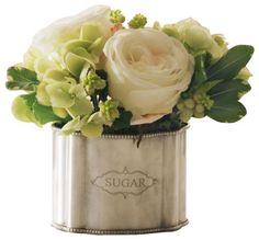 Rose Hydrangea In Caddy Flower Arrangement traditional-artificial-flowers-plants-and-trees
