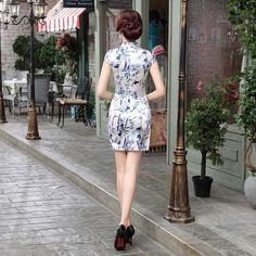 Short length Satin Fabric Cheongsam Qipao Chinese dress LGD65 Details 03