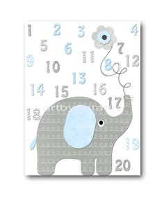 Grey Blue Elephant Decor for Nursery Numbers Wall Art Digital Wall Art Baby Boy Wall Art Boy Room Decor 8x10 11X14 INSTANT DOWNLOAD Art by nataeradownload on Etsy