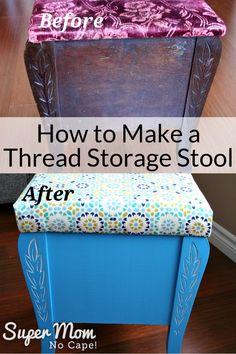 Learn how this vintage thrift store stool was transformed into a beautiful and unique Thread Storage Stool. The newly upholstered lid lifts to reveal two levels for storing thread. An awesome addition to any sewing room! Thread Storage, Sewing Room Storage, Storage Stool, Sewing Rooms, Craft Storage, Sewing Classes For Beginners, Quilting For Beginners, Easy Sewing Projects, Sewing Hacks