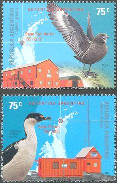 ARGENTINA/SELLOS, 2001 - ANTARTIDA ARGENTINA - BASES SAN MARTIN Y ALMIRANTE BROWN - AVES: SKUA - CORMARAN - MAPA - CAT.ARG.# 2400/1, CAT. G.J.# 3109/10 - 2 VALORES NUEVOS