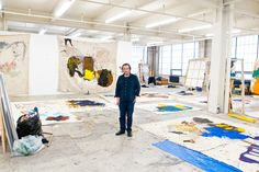 Joe Bradley in his studio. photograph by Terry Richardson 2013 Terry Richardson, Contemporary Artists, Modern Art, Studios D'art, Atelier Photo, Painters Studio, Art Studio Design, Dream Studio, Creative Studio