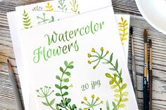 Green watercolor flowers by irina.vaneeva on Creative Market