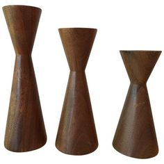 Mid Century Modern Candle Holders - Set of 3 ($75) ❤ liked on Polyvore featuring home, home decor, candles & candleholders, candle holders, mid century modern home decor and mid century home decor