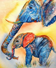 "Wildlife Art International: Watercolor Elephant Painting, ""Psychedeliphants"", by International Watercolor Artist, Donna L. Martin"