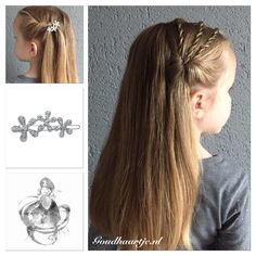 Twisted braids with beautiful flower hairclip from Goudhaartje.nl inspired by snapbandz #twistedbraid #braid #hairclip #topsytail #hairaccesories #vlecht #haarclip #haaraccessoires #goudhaartje