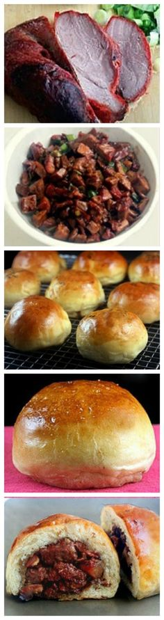Baked Chinese BBQ Pork Buns (Char Siu Bao). Tender, saucy roast pork wrapped in a soft, velvet dough and baked to golden perfection. Just like you get in the Asian bakeries! Also really great with roast chicken!