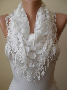 White Lace Scarf - Polka Dot with White Trim Edge - Triangle - Trendy$17.90