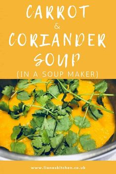 This proving to be one my most popular soup recipes - I love carrot soup anyway, but adding in fresh coriander at the end really enhances the flavour! #soup #souprecipes #soupmaker #soupmakerrecipes #carrotsoup #carrotcoriandersoup #carrots #coriander #lowcaloriesoup #slimmingsoup