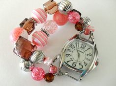 Pink and Brown Watch Bracelet by AJewelryJar on Etsy, $10.00