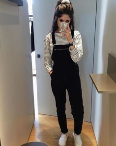 grunge, black, and outfit image Black Dungarees Outfit, Dungarees Outfits, Overalls Fashion, Outfits For Teens, Trendy Outfits, Winter Outfits, Fashion Outfits, Uni Outfits, Grunge Outfits