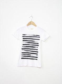 Organic Mens and Womens Hand Screen Printed Black Stripe Tee via Etsy