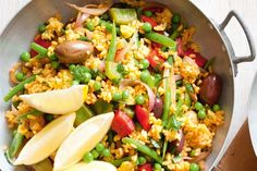 Smoky vegetarian Spanish rice----Spice up your rice with this Spanish-inspired side. Preparation: 0:10, Cook: 0:15, Serves: 6, Unrated.