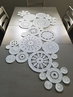 Study in circles crochet motif table runner pattern tiny white crochet flowers us terms magic circle chain 3 2 double crochet c chain circle crochet double flowers magic terms tiny white Crochet Circles, Crochet Round, Crochet Home, Double Crochet, Crochet Table Runner Pattern, Crochet Motif Patterns, Crochet Tablecloth, Lace Doilies, Crochet Doilies
