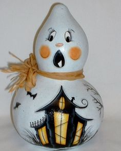 Ghost Gourd with Haunted House - Hand Painted