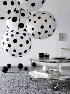 I spy…DIY!  ;-)  Well, perhaps not but you could…  eclectic-a:    Black and white poka dot lanterns!