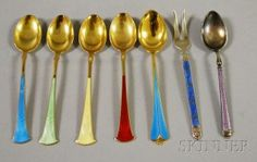 Seven small sterling Silver/guilloche enamel flatware mostly David Andersen Norway. Sold for USD 107