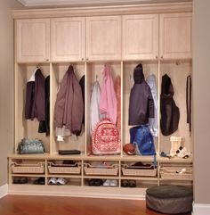 Our mudroom lockers can clean up and organize your entry way.  Our custom mudroom storage solutions include: cabinets to store larger items hooks to hang … Read More »