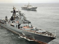 The Russian navy anti-submarine ship Severomorsk (BPK 619) sails with the U.S. 6th Fleet flagship USS Mount Whitney (LCC/JCC 20) during a joint exercise between the Russian and United States navies [2100  1577]