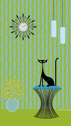 Love her mid-century modern cats. The styles are retro now but I remember when… Love her mid-century modern cats. The styles are retro now but I remember when… Retro Kunst, Retro Art, Mid Century Modern Art, Mid Century Art, Illustrations, Illustration Art, Black Cat Art, Black Cats, White Kittens