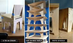 """AtFAB launches flatpack furniture made through """"networked distributed manufacturing"""" : TreeHugger Cnc Plans, Furniture Making, Industrial Design, Projects To Try, Product Launch, How To Plan, Chair, Table, Kitchen"""