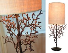 coral branch table lamp; Coral branch lamp on hand-cast metal base in antique bronze finish, topped with natural raffia shade; nautical lighting