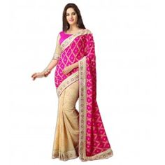 Pink and Cream Georgette #Saree With #Blouse #Fashion