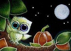 Art: TINY OWL WITH ODD EYES & HALLOWEEN PUMPKIN by Artist Cyra R. Cancel