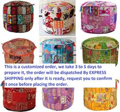 Vintage Patchwork Ottoman Pouf Cover Indian Decorative Round Floor Pillows Cover Bohemian Pouffe Cover Bean Bag Sitting Pouf Cushion Cover Round Floor Pillow, Round Pillow, Ottoman Cover, Round Ottoman, Pillow Inserts, Pillow Covers, Handmade Ottomans, Ottoman Decor, Floor Decor