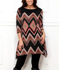 Loving this Black & Red Chevron Sidetail Tunic - Plus on #zulily! #zulilyfinds