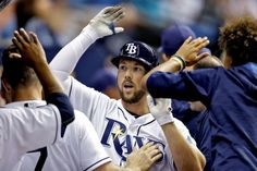 Ray of hope: Tampa Bay Rays' Steven Souza Jr. celebrates with teammates after his home run off Toronto Blue Jays starting pitcher R.A. Dickey on April 4 in St. Petersburg, Fla. Toronto won 5-3. - © Chris O'Meara/AP Photo