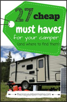 27 Must Haves for your Camper on a Budget! – The Crazy Outdoor Mama ave tons of money on your outdoor travel and buy these 27 things used for your next family camping trip in your camper! Checklist Camping, Rv Camping Tips, Retro Camping, Travel Trailer Camping, Camping Supplies, Camping World, Camping Essentials, Camping With Kids, Family Camping