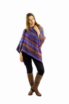 Excited to share the latest addition to my #etsy shop: Purple poncho sweater for women | Wool womens poncho, Knitted poncho, Handmade poncho women, Maternity clothing, Hand knitted gift for her #clothing #women #purple #birthday #christmas #gift http://etsy.me/2tuX86o