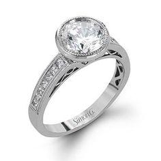 Shop online SIMON G NR501 Halo 18K - White Gold Diamond Engagement Ring at Arthur's Jewelers. Free Shipping