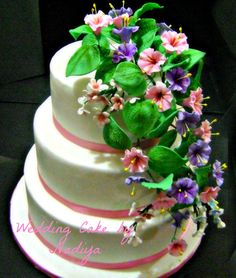 Morning Glory & Forget me not Wedding Cake