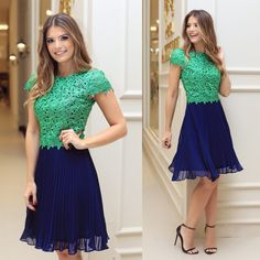 awesome Top Summer Fashion for Sunday Classy Outfits, Cute Outfits, Dress Skirt, Lace Dress, Nice Dresses, Short Sleeve Dresses, Karen, Look Chic, Party Dress