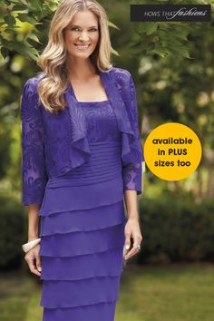 Chiffon layered dress Detailed Jacket Colours: Purple Size SOLD OUT Special Dresses, Mothers Dresses, Groom Outfit, Groom Dress, Dress And Jacket Set, Mother Of The Bride, Wedding Dresses, Bride Dresses, Wedding 2017