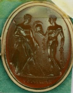 Achilles leaning upon a cippus, giving his armour to Patroclus. Achilles And Patroclus, Trojan War, Recent Discoveries, Archaeological Discoveries, Mourning Jewelry, Ancient Jewelry, Classical Art, Ancient Artifacts, Achilles