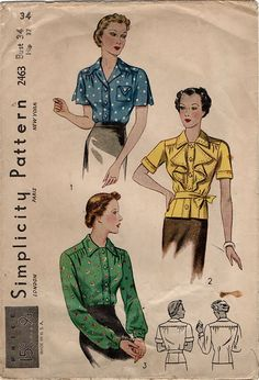 1930s Vintage Blouse Sewing Pattern - Simplicity 2463