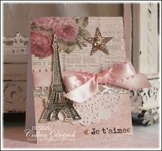 French love you card, Technique Tuesday stamps, cereal box star, Shabby Chic look.