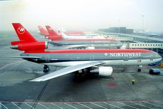 Northwest Airlines McDonnell Douglas DC-10-30 N224NW at Amsterdam-Schiphol, the airline's European hub, circa 1990s.