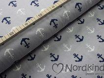 Baumwolljersey Anker grau-blau-weiß