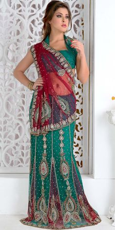 Charming Bridal Lehenga Saree ITEM CODE  : SMU13 http://www.lalitkhatri.com/women/lehenga-sarees/charming-bridal-lehenga-saree.html https://www.facebook.com/LalitKhatriDesigns2Wed