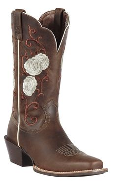 Ariat Rosebud Women's Distressed Brown with Rose Embroidered Upper Square Toe Cowboy Boots