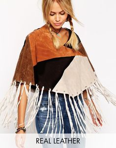 ASOS Patchwork Suede Cape With Fringing